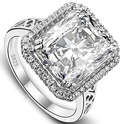 EVER FAITH Women's 925 Sterling Silver 5 Carat Radiant Cut CZ Engagement Ring Clear - Size 8