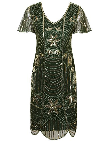 VIJIV Vintage 1920s Deco Beaded Sequin Embellished Flapper Dress with Sleeves Green Gold