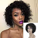 Short Curly Human Hair Wigs For Black Women Human Hair Curly Wigs Non Lace Glueless Wig with Bangs Side Part Wigs (Nature Black)