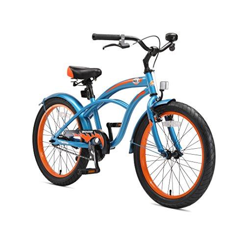 BIKESTAR Premium Sicherheits Kinderfahrrad 20 Zoll für Jungen ab 6-7 Jahre ★ 20er Kinderrad Cruiser ★ Fahrrad für Kinder Champion Blau