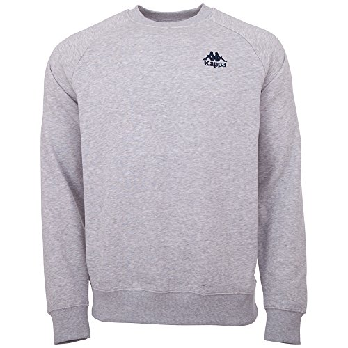 Kappa Herren Sweatshirt Authentic Taule | Langarm Shirt, Retro-Look Hoodie, Pullover Sweater Long-Shirt, Regular fit | 18M grey melange, Größe M