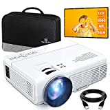 vankyomax Upgraded Leisure 3 Mini Projector & 120in Screen, 1080P and 170'' Display Supported, Portable Movie Projector with 40,000 Hrs LED Lamp Life, Compatible with TV Stick, PS4, HDMI, VGA