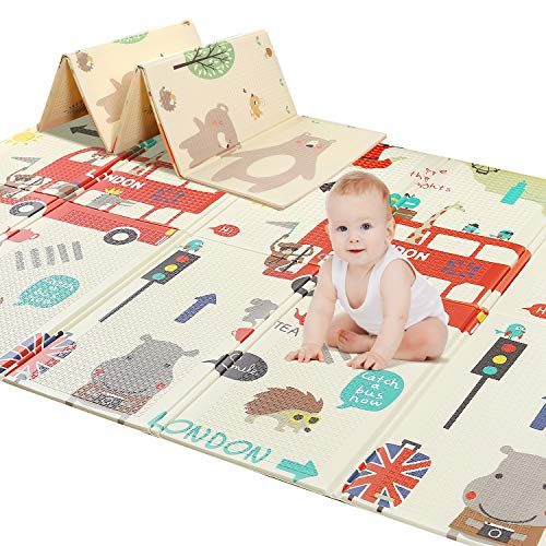 78' X 70' Baby Play Mat Floor Mat Foam Playmat, Non-Toxic Folding Waterproof Crawling Mat for Toddlers and Infants