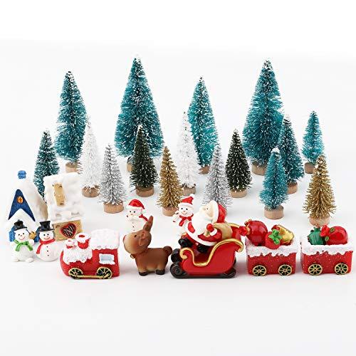FORMIZON 34 Stücke Weihnachten Miniatur Ornamente, Miniatur-Ornament-Set, Weihnachtsbaum Schneemann Weihnachtsmann Rentier Figuren Ornamente für Home Garden Party Decor Desktop Dekoration (A)