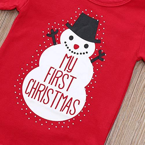 Vovotrade Kerstmis pasgeborenen baby meisjes jongens outfits kleding My First Christmas brief afdrukken 2 stuks cartoon sneeuwpop roomper + hoed set rood