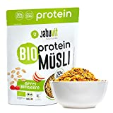 JabuVit Muesli de proteínas: tu cereal bajo en carbohidratos para un comienzo potente del día. Rico en proteínas, fibras y extremadamente delicioso calidad orgánica. Manzana y frambuesa