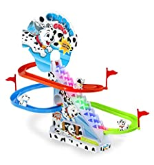 'Keep going, keep it up!' Watch 3 puppies chase and race around this exciting slide game! Mesmerizing fun! With Flashing LED lights! Easy assembly, Cute puppies, Fun track, and cheerful music (with on/off button) Made of high-quality ABS plastic. Non...