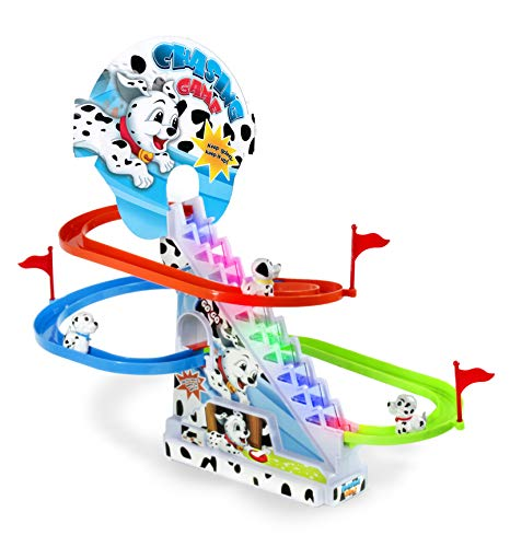 Haktoys Dalmatian Spotty Dog Chasing Playset   Playful Roller Coaster, Puppy Race Track Set with LED Flashing Lights   Music On/Off Button for Quiet Play, Safe and Durable, Gift for Toddlers & Kids