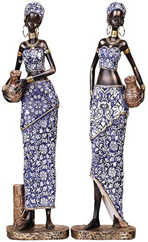 WUHUAROU 2 Piezas de Resina African Lady Figurine Sculpture Creative Art Sculpture Home Decoration Collection (Color : B)
