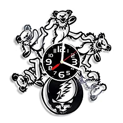 Grateful Dead band vinyl wall clock, Grateful Dead Arts gift for any occasion