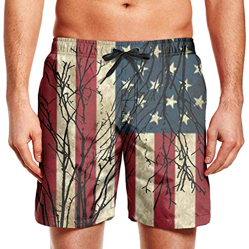 Hunter qiang Herren Surfing Board Shorts Firefighter Red Line USA Flag Badehose mit Kordelzug Gr. XL, mehrfarbig