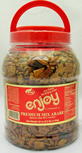 Premium Mix Arare Japanese Style Rice Crackers, Super-sized 40 Oz Container