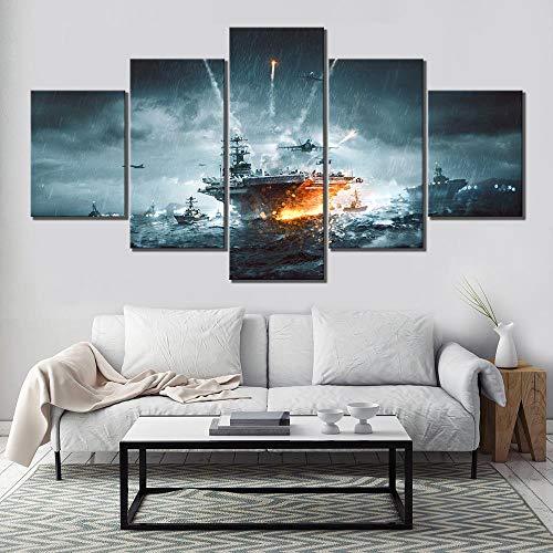 Wohnkultur Hd Drucke Malerei 5 Panel Battlefield 4 Kriegsschiff Schlachtschiff Bilder Wandkunst Modulare Leinwand Poster Modernen Rahmen(size 3)