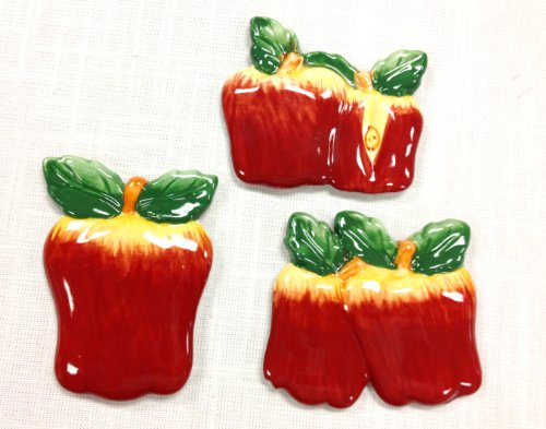"Tuscan Hand Painted Set of 3 Assorted Apple Magnets 3-3/4""H, 87486 by ACK"