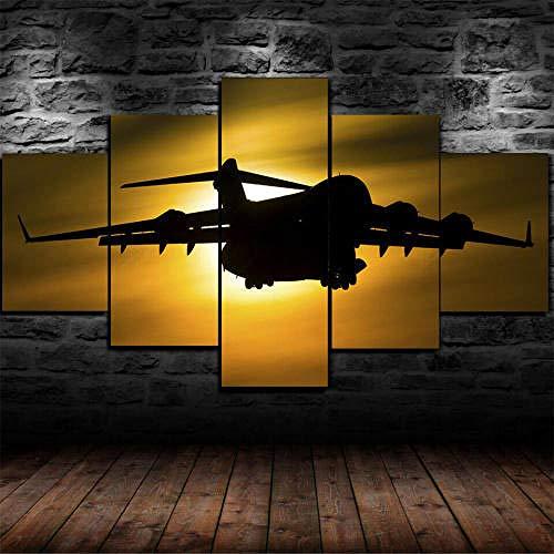 Cuadro Decoración Arte Pared Salon Abstractos Hogar Moderno-Impresión En Lienzo 5 Piezas Xxl-Mural No Tejido Impresión Artística Imagen Gráfica Regalo Avión Boeing C-17 Globemaster Iii 125X60Cm
