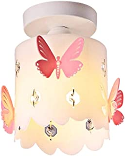 Kids Chandeliers for Girls Room, Modern Pink Butterfly Round Style Ceiling Light Contemporary Acrylic Lampshade Pendant Ceiling Lamp Corridor Decoration Small Aisle Balcony Bedroom Light Fixture E12