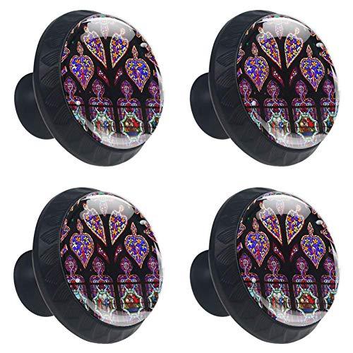 COOSUN glas in lood ramen kleuren kerk lade knop Pull handvat kristal glas cirkel vorm kabinet lade trekt kasten knoppen met schroeven voor thuis kantoor kast kast (4 stuks)