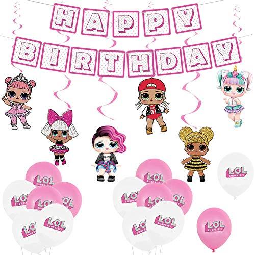 LOL Surprise Party Supplies Decoraciones,19pcs Lol Cumpleaños Decoracion Globos Pancarta de Feliz Cumpleaños de Lol Surprise Muñeca de Remolinos Colgantes Decoraciones de Fiesta