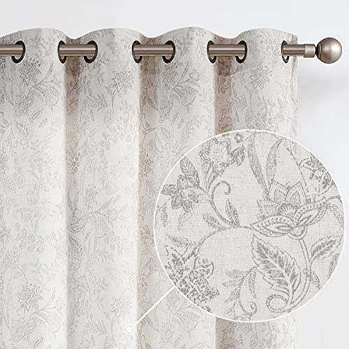 Lazzzy Linen Farmhouse Curtains for Living Room 84 Inch Length Semi Floral Print Window Curtain Drapes for Bedroom Country Light Filtering Curtain Grommet Top 2 Panels Grey on Beige