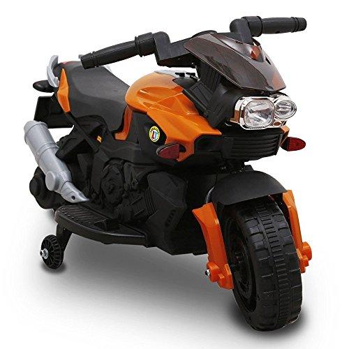Moto Elettrica Per Bambini Sprint 6V Arancione Controllo a Pedale Luci e Suoni Bakaji