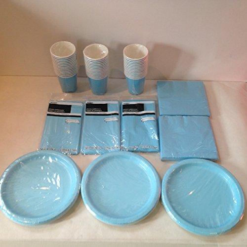 Lot de vaisselle jetable Bleu clair Pour 40 invités