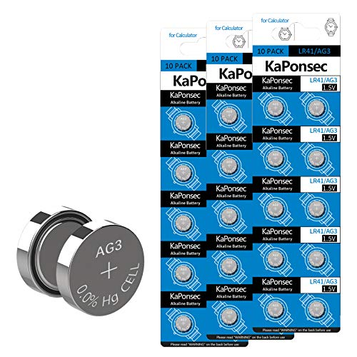 KaPonsec AG3 1.5V Battery LR41 392 384 192 Button Alkaline Cell for Digital Thermometer- 30Count