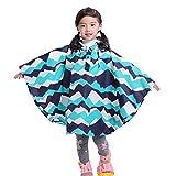 WEIMEITE Kids Poncho Cute Capa Impermeable Cubierta de la Capa de la Lluvia de los niños Poncho Ropa de Lluvia con Capucha Azul Cielo L