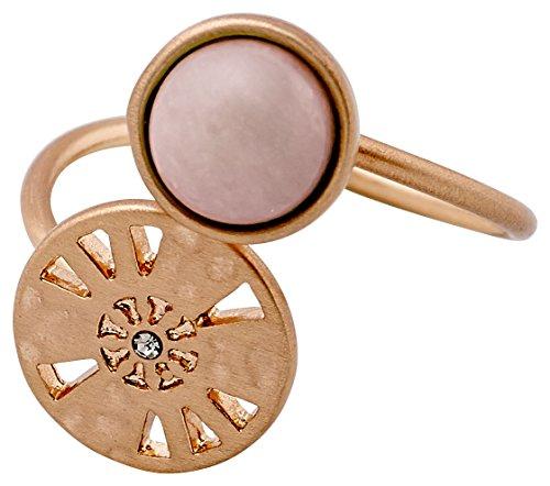 Pilgrim Damen-Ring mattiert Quarz pink Rundschliff Kristall Ringgröße verstellbar - 211724104