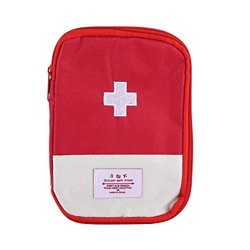 QiKun-Home Mini Kit de Primeros Auxilios para Exteriores portátil, Bolsa de Viaje, Paquete de Medicina, Kit de Emergencia, Bolsas, Divisor de Medicina, Organizador de Almacenamiento, Rojo L