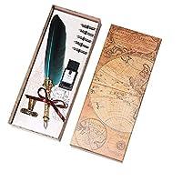 Cafshinu クイルフェザーディップペンライティングインクセット文房具ギフトボックス付き5ペン先万年筆ウェディングギフト母の日ギフト (Color : Burgundy, Size : フリー)