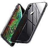 Spigen Quartz Hybrid Cover iPhone XS Max, Custodia Protettiva in Vetro Temperato 9H + Cornice Paraurti in Silicone Morbido per Apple iPhone XS Max, Crystal Clear