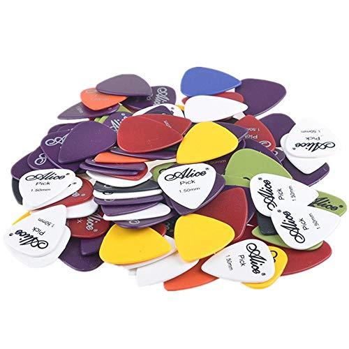 Malayas Púas de Guitarra Pack de 100 unidades Púas para Guitarra Eléctrica Acústica Española y Bajo Colores Lindos Surtidos 6 Grosores 0,58mm/0,71mm/0,81mm/0,96mm/1,2mm/1,5mm Con Caja de Almac