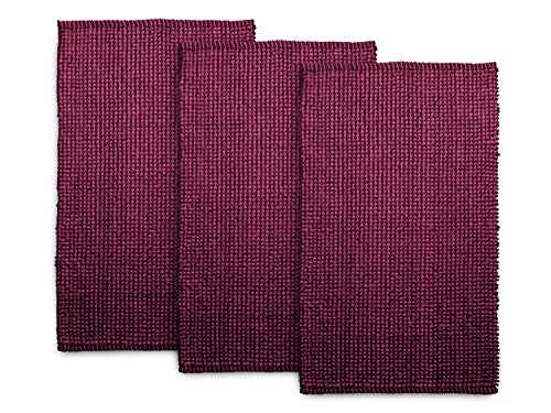 Dyckhoff 3er-Pack Badteppich Drops – klassisch und modernes Design 144.155, Badvorleger (60 x 100 cm), Himbeere/vino