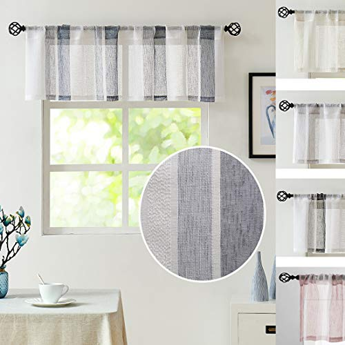"Central Park Navy and White Kitchen Window Curtain Valance Vertical Stripe Sheer Boucle Linen Window Curtain, Living Room Decorative Rod Pocket (54"" W x 15"" L) Rustic Living Panels"