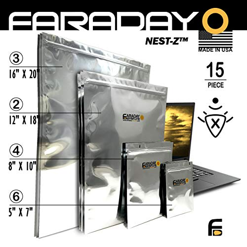 Faraday Cage Military Grade Uber Thick EMP ESD Solar Flare Bags 15pc 2-Metal Layer, Fully-SPECCED, Heavy Duty Electro-Shielding Kit X-Large Laptop/Notebook iPad Windows Survivalists Preppers