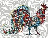 Pintura por números Pollo de color Kits de Pintar acrílica DIY para Adultos Niños Principiantes Lienzo 16x20 con Pinturas y Pinceles sin Marco