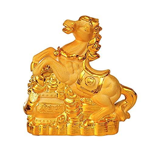 DCLINA Estatua cerámica Dorada Feng Shui, Hucha, Caballo, zodíaco Chino, Oficina en casa, decoración Mesa, figurita, colección Regalos, Escultura Riqueza y Buena Suerte