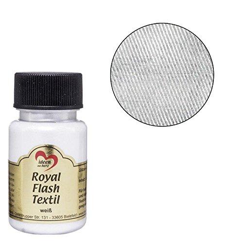 Royal Flash Textil, Glitzer-Metallic-Farbe | hochdeckend, cremige Textilfarbe auf Wasserbasis | für helle und dunkle Textilien | 50 ml (weiß)