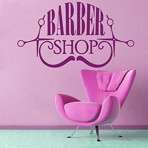 JXFM kapper snor baard schaar vinyl muursticker applique kapper wooncultuur salon C693 42x73cm