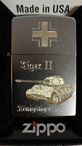 Zippo Königstiger Tiger II Balkenkreuz Jagdpanzer EK WH WK2 WWII German Tank - Satin Finish - Diamantgravur Sturmfeuerzeug, Chrom, Silber, 5.8 x 3.8 x 1.8 cm