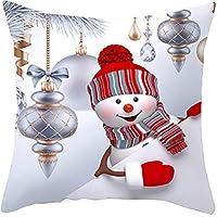 クリスマスソファピローケース3Dかわいい雪だるまクッションカバーピローケースポリエステルソファピローカバーホームクリスマスの装飾(2)