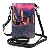 Women Small Cell Phone Purse Crossbody,Wild Alpine Scene With Cabin In The Woods Winter With Starry Skyline Illustration