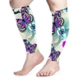 Calf Leg Compression Sleeve Women Chic Purple Butterfly And Teal Flowers Orchid Footless Compression Socks For Shin Splints, Running, Leg Pain, Nurses, Maternity Pregnancy - Increase Blood Circulation