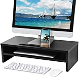 MaxGear 2-Tier Wood Monitor Stand Riser, Computer Monitor Shelf for Desk with Sturdy Platform & Storage Organizer Desktop, PC Desk Stand, Laptop and Printer Stand for Home Office, 21.5 inches, Black