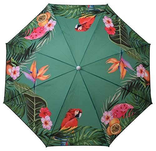Sonnenschirm UV-Schutz 40+ Strandschirm Balkonschirm Schirm grün bunt mit Papagei tropisch Ø 155 cm