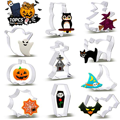 SYOSIN 10 Stück Halloween Ausstechform, Plätzchen Ausstecher, Keksausstecher aus Edelstahl, DIY Fondant Plätzchenausstecher Keksschneider Set für Kinder Geburtstag Party Deko