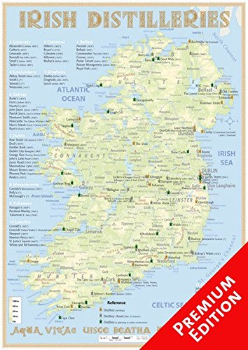 Whiskey Distilleries Ireland - Poster 42x60cm Premium Edition: The Whiskey Landscape of Ireland in Overview: The Whiskylandscape in Overview - Maßstab 1 : 925.000