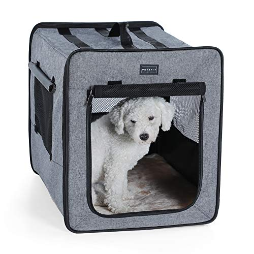 "Zampa Pet Portable Crate – Great for Travel, Home and Outdoor – for Dog's, Cat's and Puppies – Comes with A Carrying Case ((40"" x 27"" x 27""), Grey/Black)"