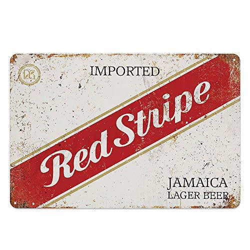 Dekorative Eisenplatte Blechschild ZINNZEICHEN Roter Streifen Jamaika Bier Metall Plakette, Retro Dekor für Bar, Cafe, Pub, Größe 8