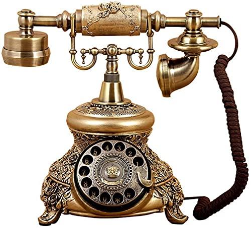 MUZIDP Teléfono Decoración Estatua Artista Teléfono Figurine Europeo Retro Teléfono Dial Rotary Antiguo Teléfono Resina + Teléfono Metal Teléfono Fijo Hogar Línea Fija